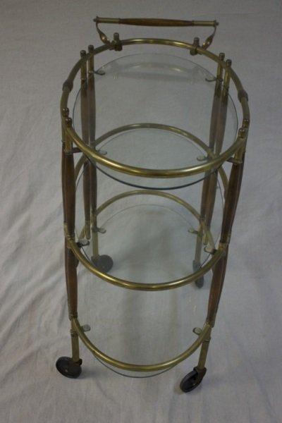 Italian Brass Amp Wood 3 Tiered Tea Cart Lot 211