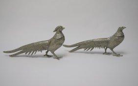 Vintage Pr. Of Silvered Bronze Ring Neck Pheasants