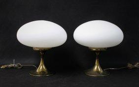 Pair Vintage Laurel Brass 'mushroom' Table Lamps
