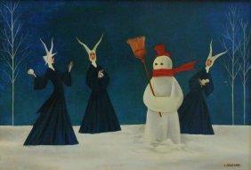 Veniero Canevari (italian, 1926-1989) Nuns & Snowman