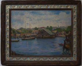 Louis Kronburg (american 1872-1965) Harbor Scene, Mass.