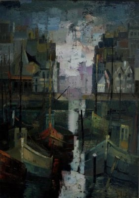 80's Cubist Impressionist Painting Ships In Harbor