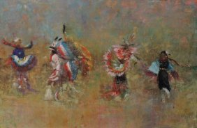 Impressionistic Native American Oil On Canvas