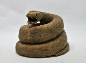 American Folk Art Carved Wood Rattlesnake