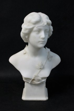 F. Saul 19th C White Carrara Marble Bust Of A Lady