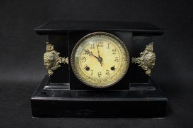 19th C. French Empire Style Slate Mantel Clock