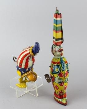 J. Chein Tin Acrobat & Clown With Umbrella