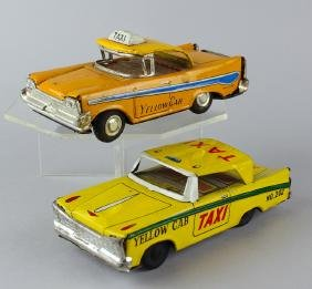 Two Japan Tin Taxi Cabs Yellow Cab