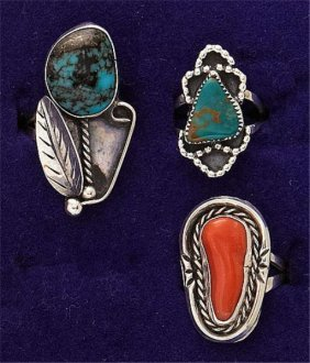 Turquoise And Coral Ring Trio
