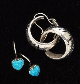 Two Pair Sterling Silver Earrings