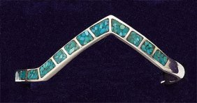 Turquoise Inlaid Silver Cuff