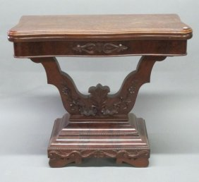ANTIQUE BURL VENEERED GAMES TABLE:
