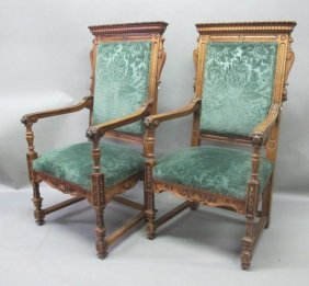 PAIR HEAVILY CARVED VICTORIAN CHAIRS: