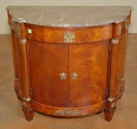 EMPIRE STYLE DEMILUNE FLAME MAHOGANY COMMODE:
