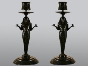 A PAIR OF FRENCH ART DECO CANDLESTICKS: