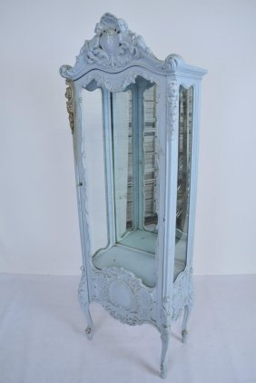French Blue Painted Vitrine Cabinet