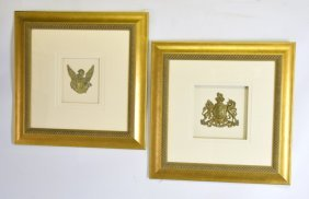 Pair Gilt Bronze Wall Plaques