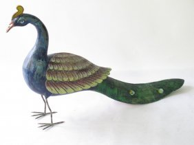 Carved, Painted Wood Peacock