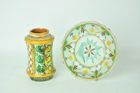 2 Pieces Majolica Pottery
