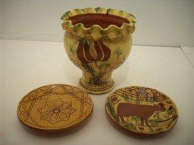 Breininger Pottery Redware Vase And Bowls