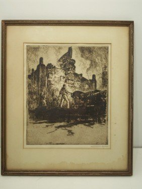 Otto August Kuhler Etching 'The Piercer'
