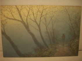 S. Tosuke Watercolor Of Misty Path Walker