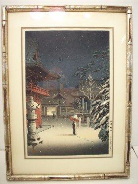 Tsuchiya Koitsu Woodblock 'Snow At Nezu Shrine'