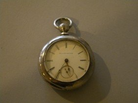 Large Coin Silver Key Wind Pocket Watch By Illinoi