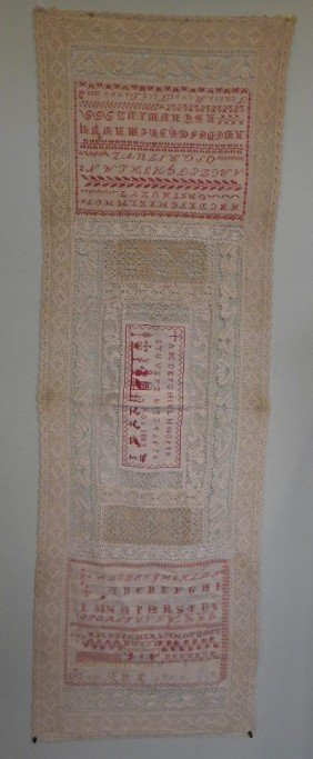 Hand Sewn Lace With Three Early Samplers From 1909