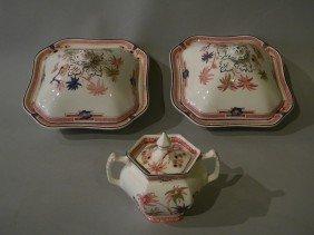 Lot Of 3 Porcelain Servers, Woodsware, Enoch Woods