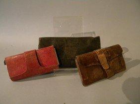Lot Of 3 Early 19th Century Wallets W/ Ephemera Of