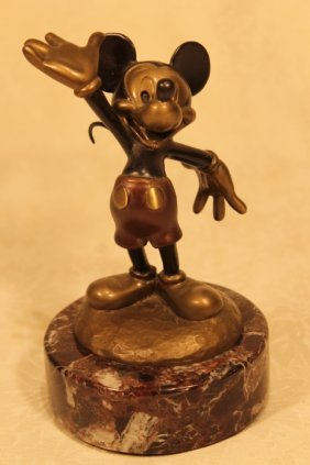 Disney Painted Bronze Of Mickey Mouse Waving