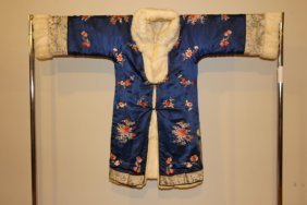 Silk Embroider & Fur Chinese Robe Early 20th Cent