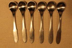 6 Georg Jensen Stainless Steel Salt Spoons