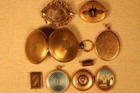 9 Pcs, Lockets And Mourning Pins