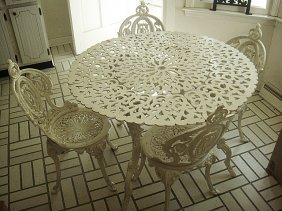 Estate Cast Aluminum Table And Chair Set.
