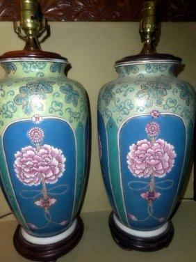 Pair Of Oriental Porcelain Lamps