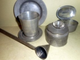 Six Pieces Of Antique Pewter