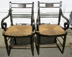 Pair Of Period Painted Arm Chairs