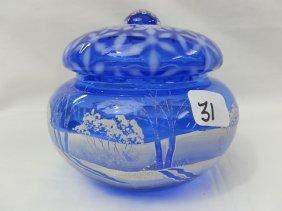 Fenton Cobalt Blue Winter Scene Bowl W/lid Museum C