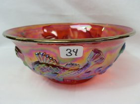 Fenton Ruby Red 90's Carnival Fish Bowl