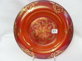 Fenton Red With Gold Deco Low Console Bowl