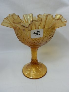 Fenton Amber Persian Medallion Compote-Extremely St