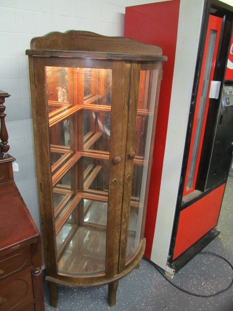 antique oak corner curio cabinet 2