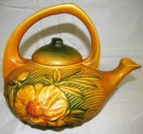 Vintage Original Roseville Pottery Peony Tea Pot