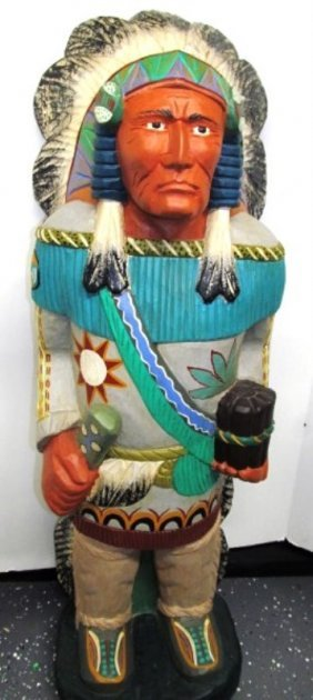 "Vintage Wood Carved Cigar Store 39"" Indian"