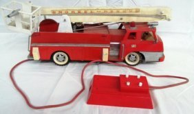 Vintage Red Metal Fire Truck