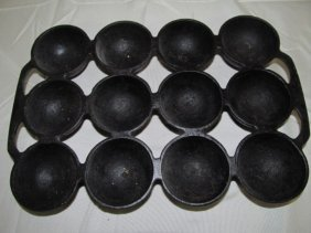 Antique Cast Iron 12 Port Muffin Tray
