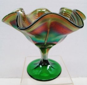 Emerald Carnival Glass Peacock Feather Stemmed Dish ~