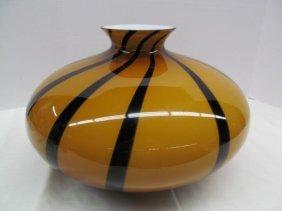 """Large Sasaki """"nautilus"""" Cameo Art Glass Striped Vase ~"""